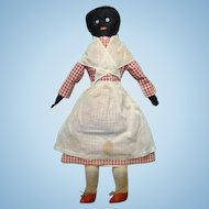 Antique Primitive Black Cloth Rag Doll Red Check Dress Embroidered Face 24in Museum Deaccession