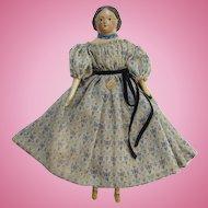 Antique 19thC Greiner Style Milliners Model Papier Mache Wood Doll Original Dress Museum Deaccession
