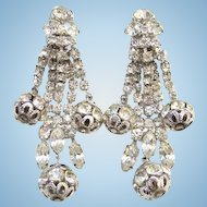 Dramatic Clear Ice Rhinestone Long Drop Dangle Clip Earrings Silvertone Vintage Runway