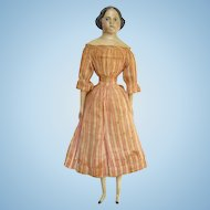 C1850s Greiner Style 15 Inch Papier Mache Milliners Model Wood Doll Fabulous Original Dress