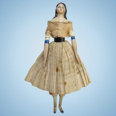 Antique C1850 Milliners Model Papier Mache Wood Doll Leather Body Long Sausage Curls 12.5 Inch