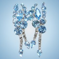 Vintage Climber Clip Earrings Blue Rhinestone with Long Dangles