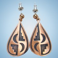 Vintage WM Co Copper Pierced Post Earrings Native American Style Design