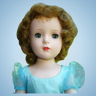 1950s Madame Alexander Margaret Face Bridesmaid Doll Walker Blue Tulle Gown 18 Inch