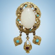 Vintage Victorian Revival Brooch Pin Molded Glass Antiqued Goldtone Setting