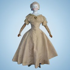 Antique Lady Dagmar German Parian Doll 24 Inch Original Silk Costume