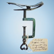 Antique 1800s Metal Swing Bird Clamp Paint Decorated Heart Detail With Provenance