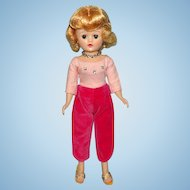 Beautiful Vogue Jill Doll Blond Angel Cut in Pink Velveteen Toreador Pants 1950s
