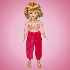 Beautiful Vogue Jill Doll Blond Angel Cut in Pink Velveteen Toreador Pants 1950s