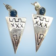Vintage Taxco Mexico Blue Cabochon and Sterling Silver Dangle Earrings Hallmarked 925