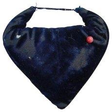 Old Victorian Sewing Needle Pin Cushion Emery Sharpener Blue Velvet Heart Shape Needlework Tool