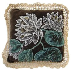 Victorian Sewing Pin Cushion Hand Painted Lilies on Velveteen 19thC Needlework Tool