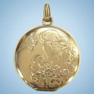 Danecraft Repousse Embossed Gold Filled GF Photo Locket Necklace Pendant with Photos