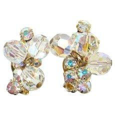 Juliana Aurora Borealis Rhinestone Bead Dangle Clip Earrings Goldtone DeLizza Elster