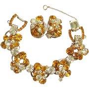 Juliana Yellow Topaz Citrine Rhinestone Set 5 Link Cluster Bracelet Clip Earrings DeLizza Elster Book Piece