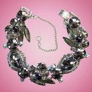 Juliana 1963 Hematite Cabochons Black Diamond Rhinestone 5 Link Bracelet DeLizza Elster Book Piece
