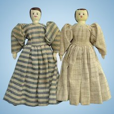 Old Peg Wooden Doll Pair Hand Carved Painted Jointed Wood Same Artist 9 Inch