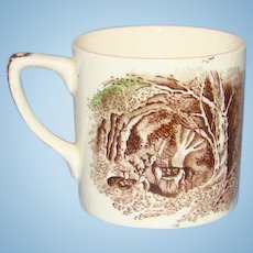 Antique 19thC Soft Past Transfer Ware Transferware Child Mug Cup Deer in Forest Lady House
