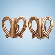 Vintage Renoir Designer Modernist Abstract Copper Loop Clip Earrings Signed