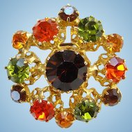 Vintage Made Austria STAR Rhinestone Brooch Pin Watermelon Green Topaz Amber