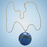Vintage Lapis Lazuli Gemstone Disk Pendant Necklace Goldtone Chain