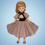 1957 Vogue Jill Doll Blond Ponytail in Brown Tweed Skirt Cape Outfit Tagged
