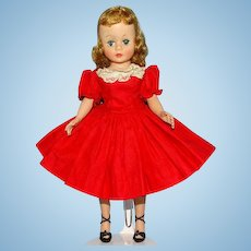 Madame Alexander Blond 9 Inch Cissette Doll in Tagged Red Cotton Drop Waist Dress