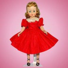 Madame Alexander Blond 9 Inch Cissette Doll in Tagged Red Cotton Drop Waist Dress