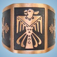 Vintage WM Wheeler Co Copper Cuff Bracelet Southwestern Style with Thunderbird