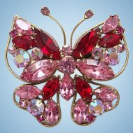 Ruby Red Pink Rhinestone Figural Butterfly Pin Brooch Goldtone Wire Frame Wings