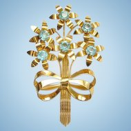 Gorgeous Sterling Silver Vermeil Floral Brooch with Aqua Rhinestone Flowers Bow Marked