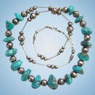 Turquoise Nugget Stamp Decorated Beads Necklace Sterling Silver Signed ASB Southwestern Tribal Indian Jewelry