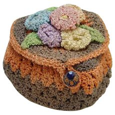 Vintage Hand Crocheted Sewing Bag Thread Spool Accessory for Needlework Tools