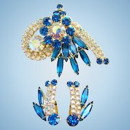 Juliana Bermuda Blue AB Rhinestone Brooch Earrings Set DeLizza Elster