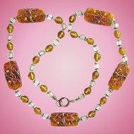 Vintage Art Deco Necklace Venetian Art Glass Beads Wedding Cake Honey Color 26 inch