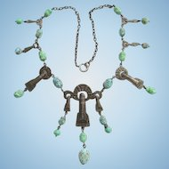Old Art Deco Egyptian Revival Necklace Turquoise Art Glass Czech Bead
