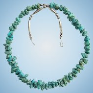 Vintage Southwestern Style Graduated Turquoise Nugget and Melon Bead Necklace 20 Inches