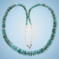 Native American Turquoise Heishi Bead Necklace Graduated Flat Disk Southwestern Tribal 25 Inches