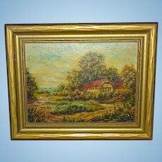 ERNA SCHARFF 1895-1982 Original Landscape Oil Painting on Board Country Cottage Sailboats