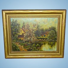ERNA SCHARFF 1895-1982 Original Landscape Oil Painting on Board Lakeside Country Cottage