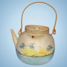Sewing Pin Cushion Hand Painted Silk Landscape Japanese Teapot with Handle Old