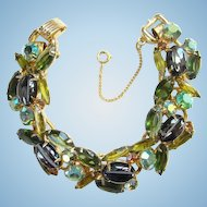 Juliana Bracelet Oval Scooped Out Hematite Green Rhinestone 5 Link C1961 DeLizza Elster