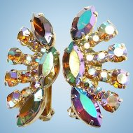 Pink Blue Aurora Borealis Rhinestone Fan Shaped Climber Clip Earrings Gold Tone Setting Unmarked Vintage