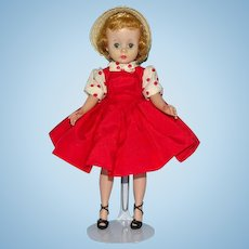 Cissette Doll in Tagged Red Taffeta Jumper Dress Straw Hat Madame Alexander 1957