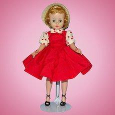 Cissette Doll in Tagged Red Taffeta Jumper Dress Straw Hat Madame Alexander 1957
