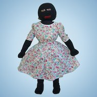 Antique Black Stockinette Cloth Rag Doll Embroidered Features Floral Dress 22 Inch