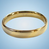 Vintage Gold Filled Hinged Bangle Bracelet with Slide Satin and Shiny Diagonal Bands