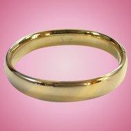 Vintage Gold Filled Hinged Bangle Bracelet with Slide Satin and Shiny Diagonal Bands