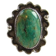 Navajo Oval Turquoise Ring Size 8 Sterling Silver Southwestern Tribal Indian Jewelry