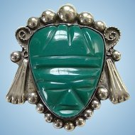 Taxco Mexico Sterling Silver Brooch Pin Green Agate Mask Masquette Mexican Jewelry